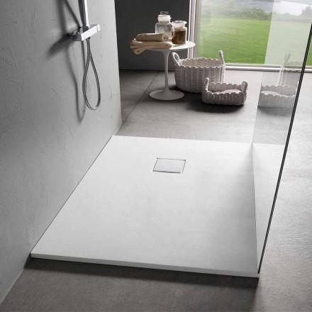 Tabaka moderne dushi 120x90 në përfundim të efektit kadife të bardhë rrëshire - Estimo