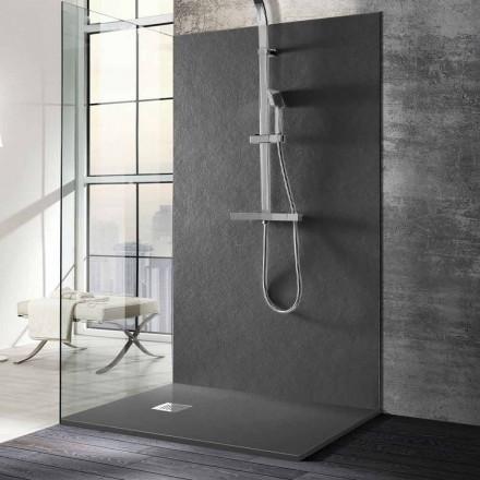 Tabaka dushi 140x70 në rrëshirë me efekt guri me rrjet çeliku - Domio