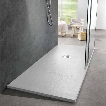 Tabaka dushi 160x70 Dizajn modern në efektin e pllakës së rrëshirës së bardhë - Sommo
