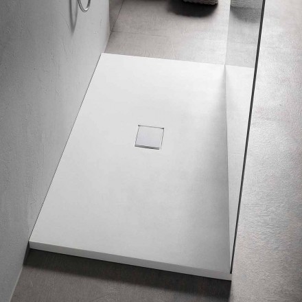Sirtar dushi 160x80 cm në rrëshirë të bardhë me kullues dhe mbulesë - Estimo