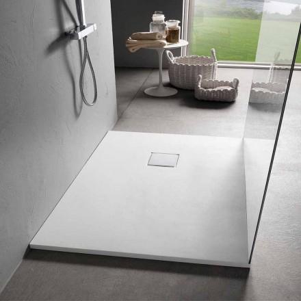 Sirtar dushi 90x70 në rrëshirë me efekt të bardhë kadifeje me mbulesë kullimi - Estimo