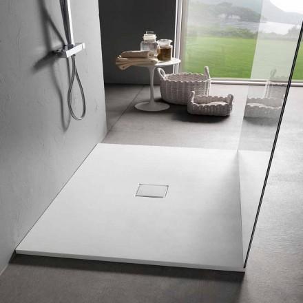 Sirtar dushi me dizajn katror 90x90 me efekt kadifeje me rrëshirë të bardhë - Estimo