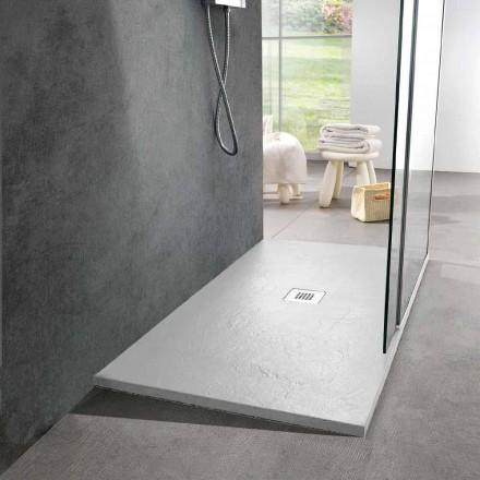 Tabaka dushi me rrëshirë të bardhë 140x70 me rrjet çeliku dhe kullues - Sommo