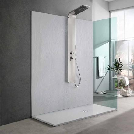 Tabaka dushi me rrëshirë të bardhë me efekt të pllakës 170x70 Dizajn modern - Sommo