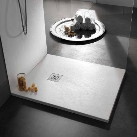 Tabaka moderne dushi katror 90x90 në rrëshirë me efekt guri - Domio