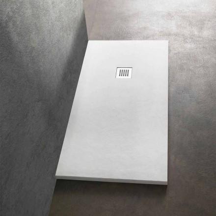 Tabaka moderne drejtkëndëshe dushi 160x80 në rrëshirë me efekt guri - Domio
