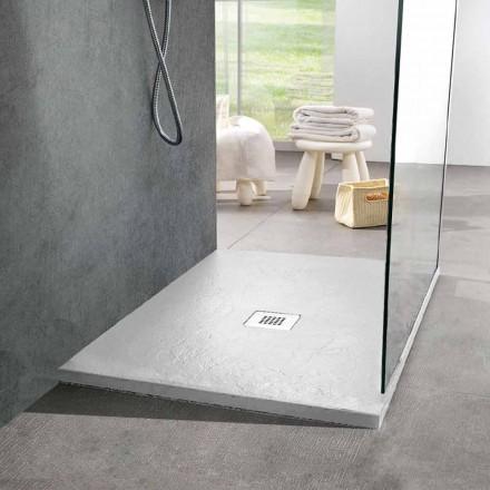 Tabaka dushi katror 80x80 në rrëshirë dhe çelik me efekt të pllakave të bardha - Sommo