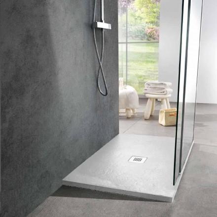 Tabaka dushi drejtkëndëshe 100x80 në efektin e pllakës së rrëshirës së bardhë - Sommo
