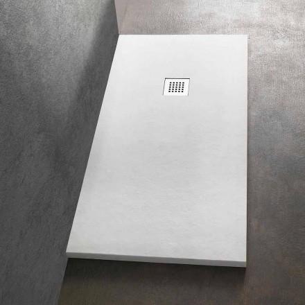 Tabaka dushi drejtkëndëshe 140x80 në rrëshirë me rrjetë çeliku - Domio