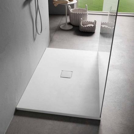 Tabaka dushi drejtkëndëshe 140x90 cm në efektin kadife të rrëshirës së bardhë - Estimo