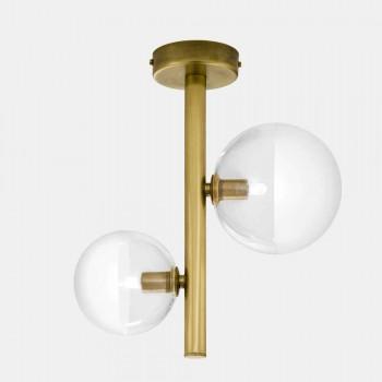 2 Drita Xham dhe Llambë Tavani prej bronzi Natyror Prodhuar në Itali - Molecola nga Il Fanale