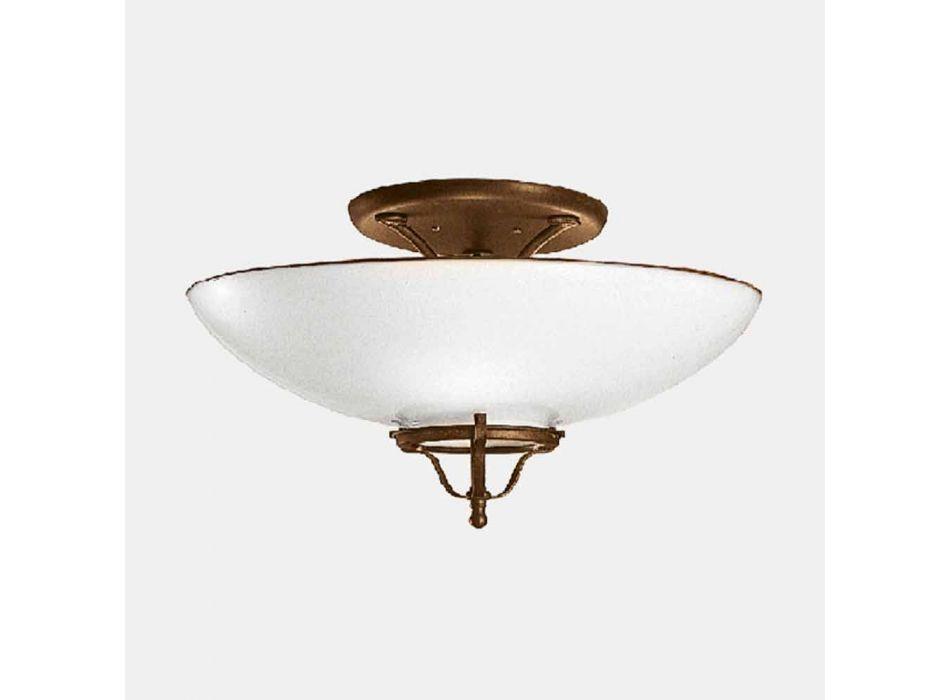 3 Llamba tavanesh në dritë në tunxh dhe xham gjysëmfushues Murano - Vend nga Il Fanale