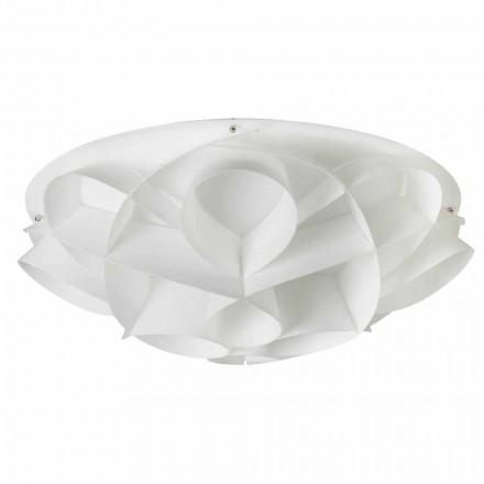 Llambë tavani me dizajn modern Lena, përfundojë e bardhë perla, diamant 70 cm.