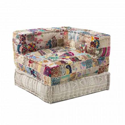 Karrige karrige Longue e Dizajnit Etnik në Pambuk Patchwork, për dhomën e ndenjes - Fibër