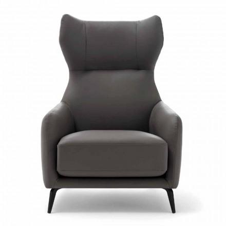 Karrige Lounge lëkure me këmbë metalike të llakuara prodhuar në Itali - Arre