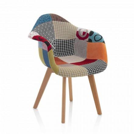 Kolltuk i Dizajnit me Patchwork në pëlhurë me këmbë druri, 2 copë - Selena