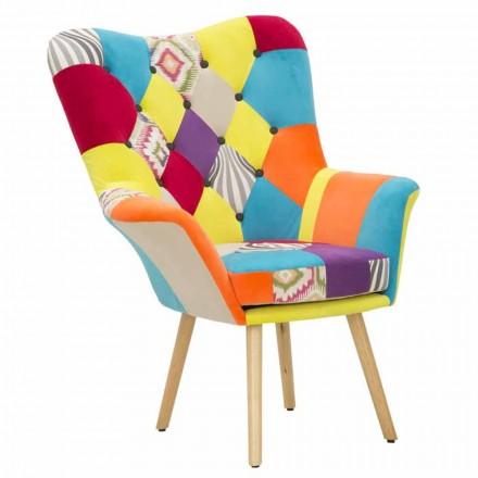Karrige me dizajn modern me arna në pëlhurë dhe dru - Karin