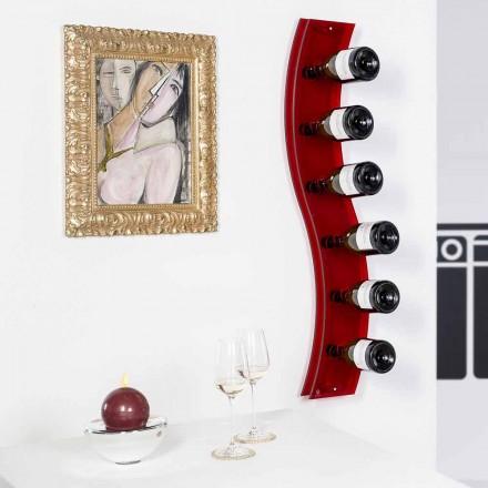 Raft verë i montuar në mur Serri, ngjyra e kuqe, L26,5xH100xP9cm