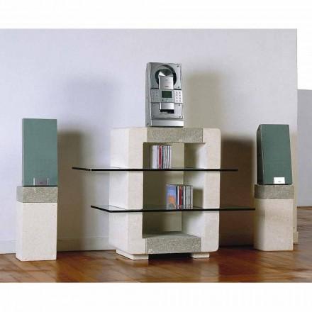 Stendë televizive Hi-fi e bërë nga guri natyror Vicenza dhe kristali Xeni