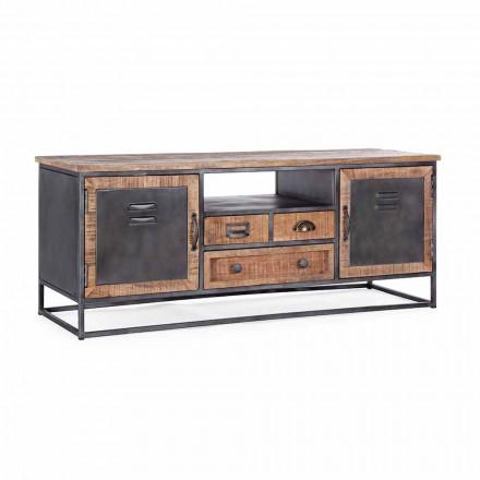 Stendë TV e stilit industrial në lëvizje prej druri mango dhe çeliku - Rupia