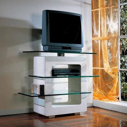 Tabela TV modulare e punuar nga guri natyror Vicenza dhe kristal Agnes