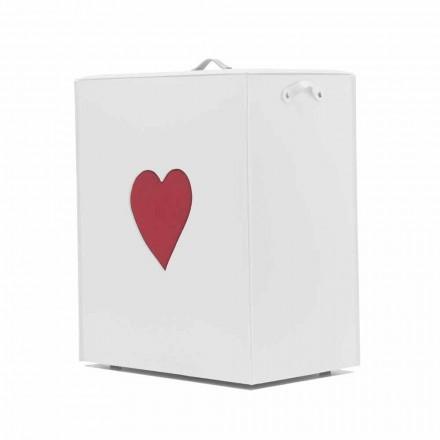 Shporta bashkëkohore e lavanderi prej lëkure e bërë në Itali Adele, futje zemre