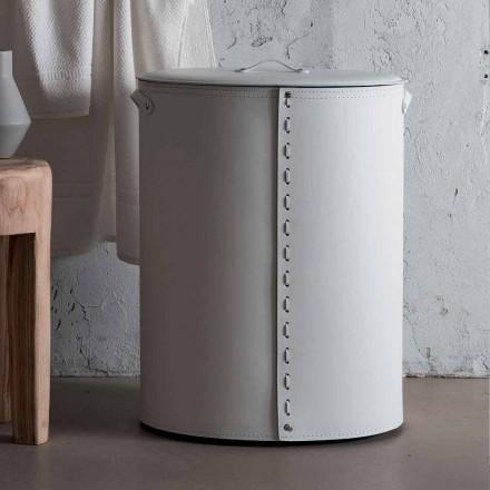 Shporta lavanderi ovale në lëkurën e rigjeneruar Riky të bërë në Itali