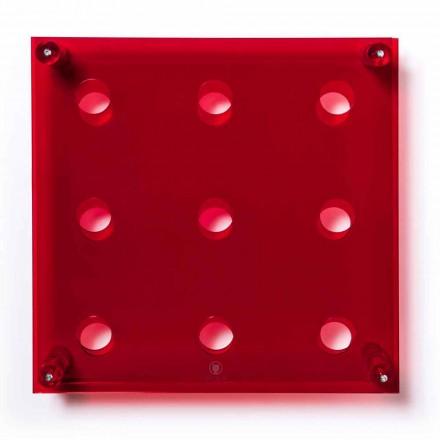 Mbajtësi i shisheve i montuar në mur Amin Big, fund i kuq, L45xH45xP13,6cm
