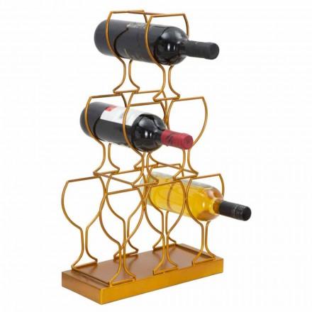 Mbajtësi i shisheve të dyshemesë ose tavolinës 6 shishe hekuri, model modern - Brody