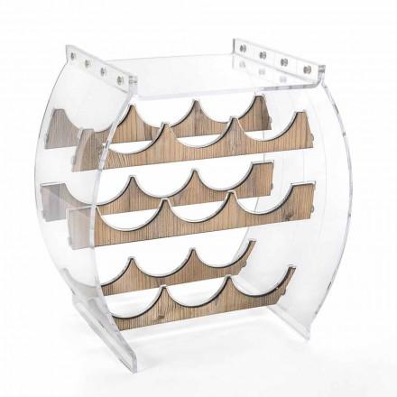 Mbajtëse e shisheve të dyshemesë në dizajn pleksiglas transparent dhe druri 9 Vende - Stria