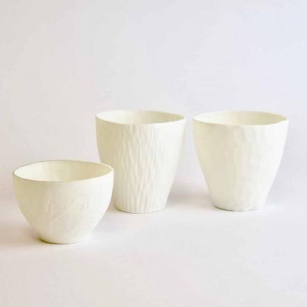 Dizajni Mbajtëse Qirinjsh në Porcelan të Bardhë të Dekoruar 3 Copë - Arcireale