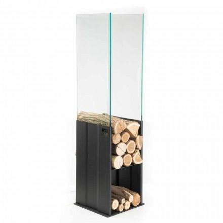 Mbajtësi i brendshëm i drurit Dizajn modern në çelik dhe qelqi të bërë në Itali - Mistral