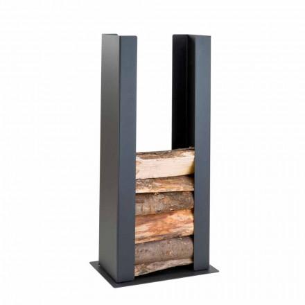 Mbajtësi i dyshemesë / mur prej druri në çelik të zi me kolonën e modelit modern - Grecale