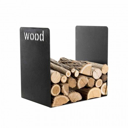 Mbajtës modern i drurit në modelin minimal të çelikut të zi me gdhendje - Altano