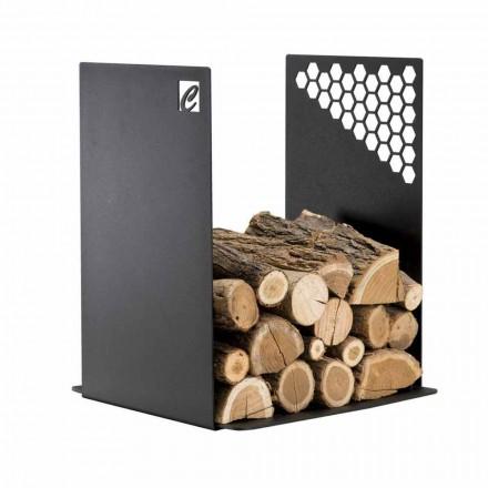 Mbajtës modern i druve të zjarrit në çelik të zi për dizajn shtëpie - Scirocco