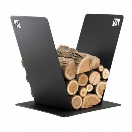 Mbajtëse druri për Dizajn Modern të Fireplace në Steelelikë të Zezë të Prodhuar në Itali - Vespero