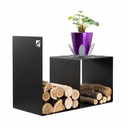 Mbajtës i drurit me dizajn modern me tryezë shtëpie në çelik të zi - Cecia