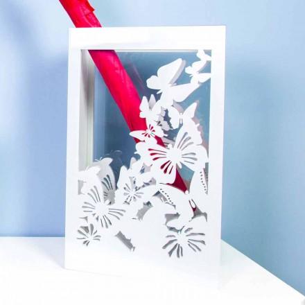 Qëndrim ombrellë prej druri të bardhë me dizajn modern të dekoruar me fluturat - Papilio