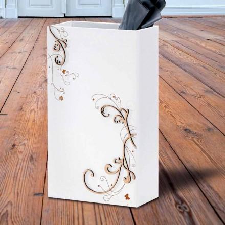 Qëndroni ombrellë moderne elegant në dru të errët ose të bardhë me dekorime - poezi