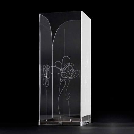 Qëndrim ombrellë plastik transparent me gjethe të stilizuara të gdhendura - Florino