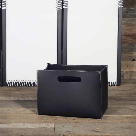 Baganta e revistave prej lëkure me bazën prej druri me këmbë të Rubberized - Modeli Sandler