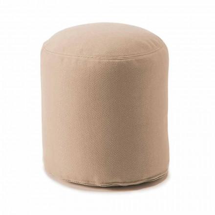 Pouf i butë i rrumbullakët për dhomë të gjallë të brendshme ose të jashtme në pëlhurë me ngjyra - Naemi
