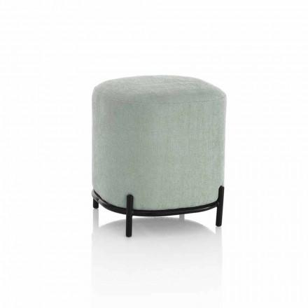 Pouf i rrumbullakët për dhomën e ndenjes në pëlhurë jeshile ose gri Dizajn modern - Ambrogia