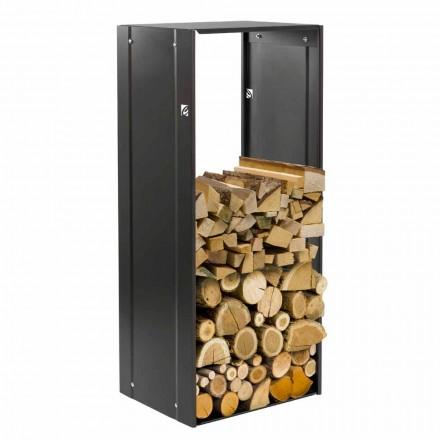 Mbajtës i drurit të zjarrit me dizajn drejtkëndor për fireplace të brendshme në çelik të zi - solano