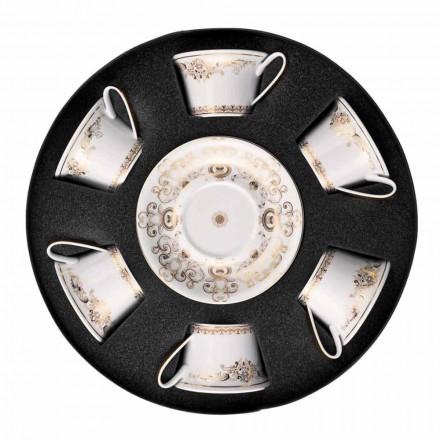 Kupa çaji prej porcelani Rosenthal Versace Medusa Gala vendosur 6 copë