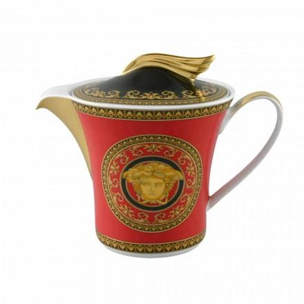 Teapot prej porcelani Rosenthal Versace Medusa Rosso 6pax me kapak