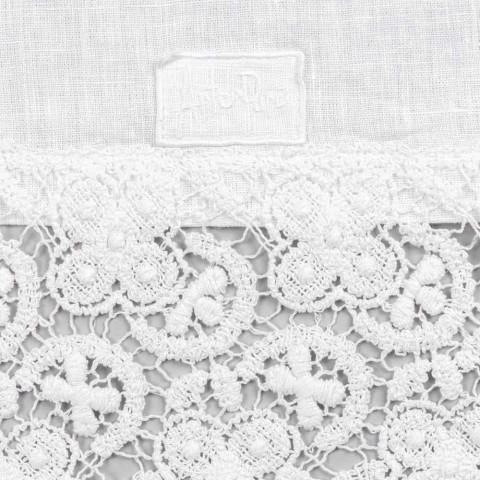 Vrapues tavoline 100% liri me dantella luksoze te bardha prodhuar ne Itali - Triumf