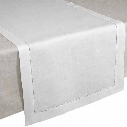 Vrapues tavoline në liri të pastër krem të bardhë prodhuar në Itali - Chiana