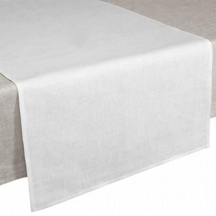 Vrapues tavoline 50x150 cm në Liri të pastër krem të bardhë prodhuar në Itali - Bekimi