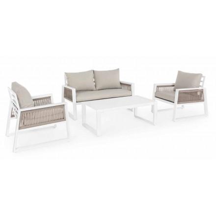 Lounge Garden në alumini me dizajn të bardhë ose të zi - dush shiu